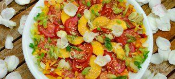 Bunter Salat aus Nektarinen und Tomaten auf einem weissen Teller